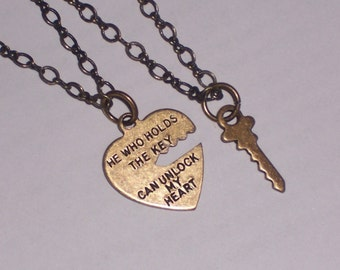 His and Hers Open Heart and Key Pendants on Brass OX Chain Necklace