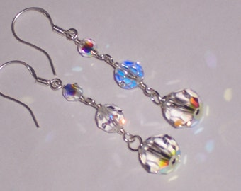 Bridal Drop Swarovski Crystal  and Sterling Silver Earrings