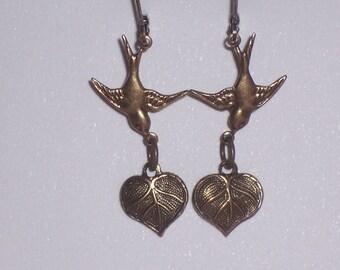 Brass Ox Sparrow Bird Earrings Carrying Heart Leaves Vintage Style Bird Jewelry