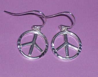 Peace Sign Earrings Sterling Silver  - FREE Shipping to the USA