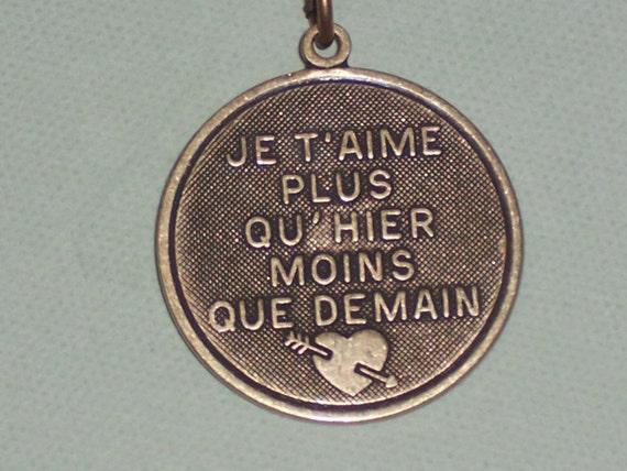 Je T'Aime Plus Qu'Hier Moins Que Demain -Antiqued French Love pendant necklace Je taime Necklace