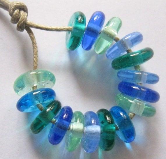 16 Handmade Lampwork Beads Disk Shaped Ocean Mix SRA