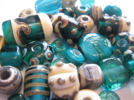 Handmade Silvered Ivory and Teal Lampwork Beads SRA