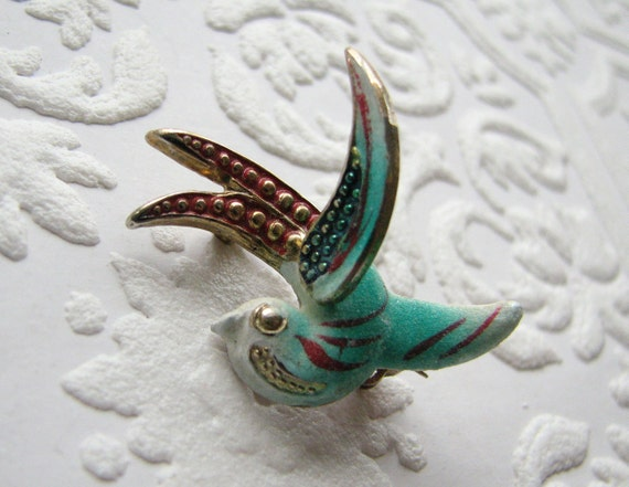 Enamel flying sparrow Brooch