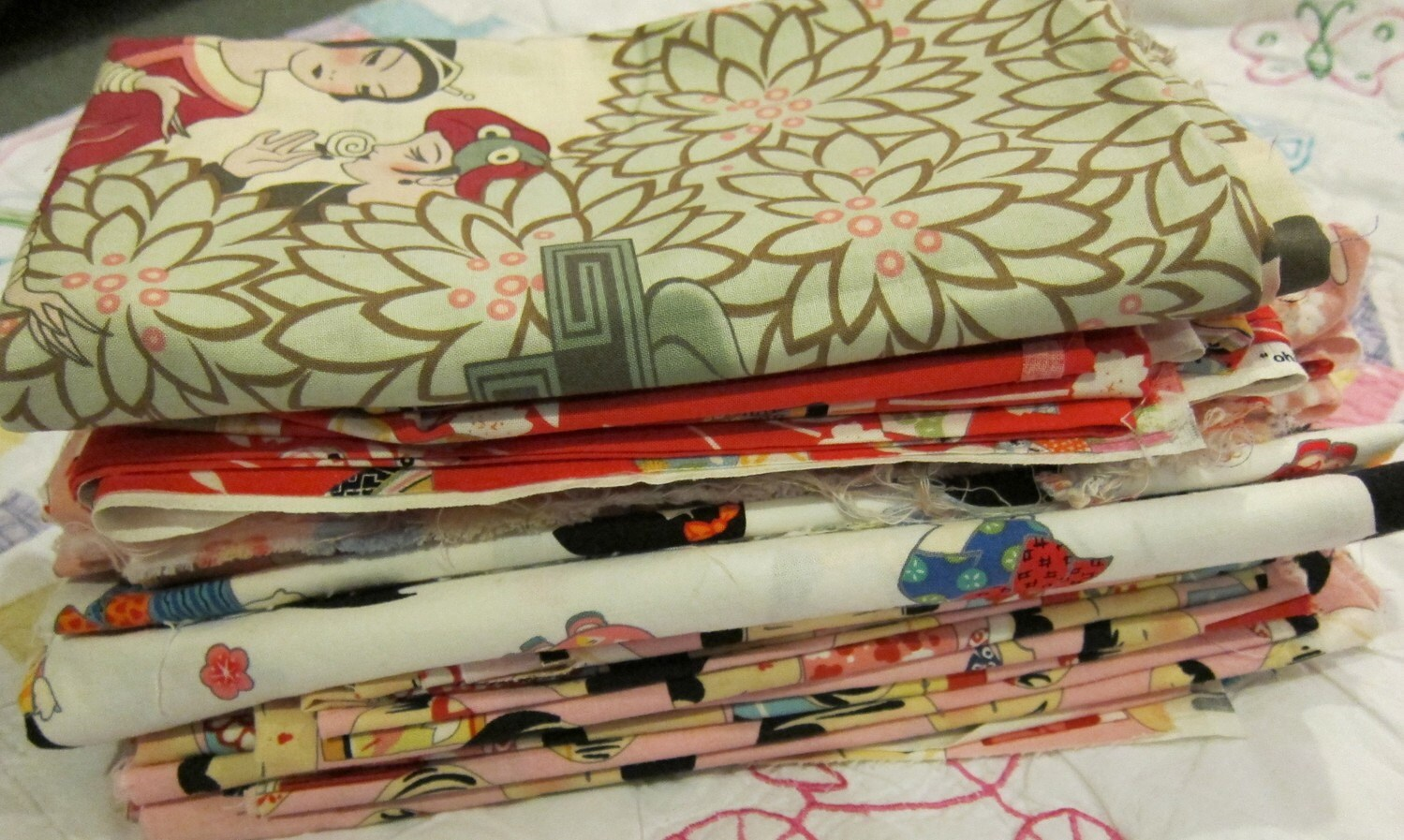 Large fabric lot asian inspired designer yardage and remnants for Fabric remnants