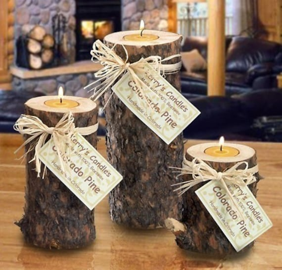 3 piece lodge look rustic real wood log candle set with bark for Log craft ideas