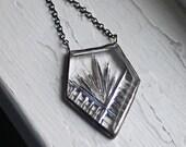 Deco Silver Arrow Necklace Vintage Glass