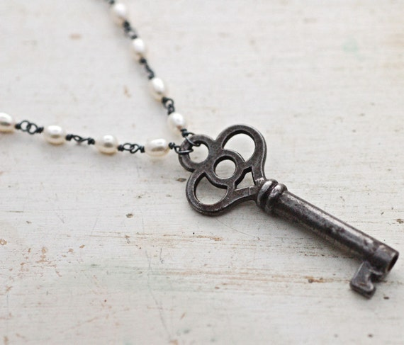Antique Skeleton Key and Escutcheon Necklace with Wire Wrapped Freshwater Pearls