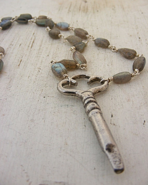 Labradorite and Antique Clock Key Sterling Handwrapped Necklace
