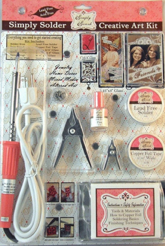 Simply Swank SIMPLY SOLDER CREATIVE ART KIT w/ SOLDERING Pink IRON, Lead Free Solder, Copper Foil Tape, Flux, Iron Stand, Holding Clamps, Instructions and Glass Pieces to make soldered jewelry