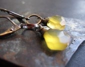 Lemon Zest. Urban Luxe Earrings with Yellow Chalcedony and grey gunmetal.