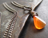 Fire.  Pendant Necklace with Pale Orange Fire Opal and Grey Gunmetal Chain