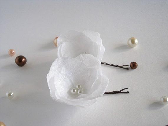 Snow White Silk Bridal Flowers Hair Pins, Shoe Clips