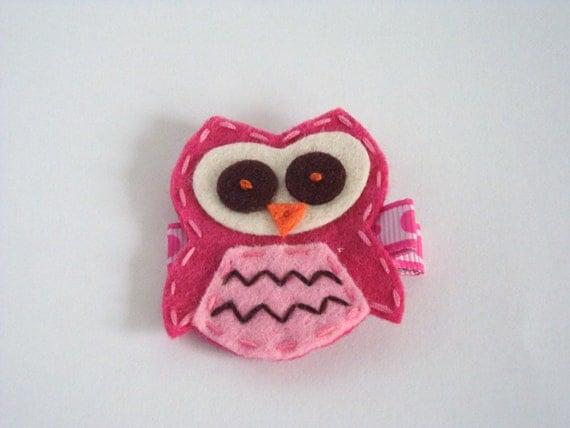 Hot Pink  Felt Owl Non Slip  Clip