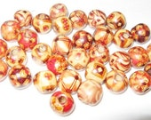 33 Medium Wood Decorated Beads