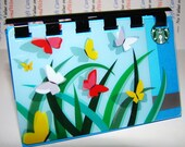 Starbucks Butterfly Spring  --  Upcycled Giftcard Notebook - No value on card  --  Blue paper inside