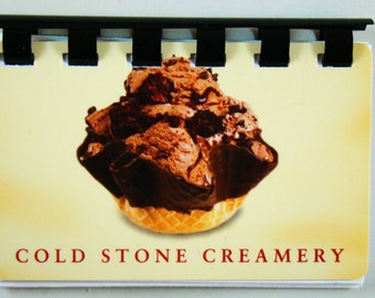Cold Stone Creamery upcycled Giftcard Notebook  ---  No Value on Card