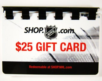 NHL (hockey)    --- Gift Card ---- Recycled and Repurposed ---- Note Book -- No Value on Card -- Novelty Purposes Only