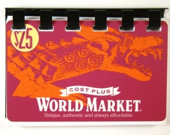 World Market   Giftcard Notebook made from a reclaimed giftcard --  No Value on Card