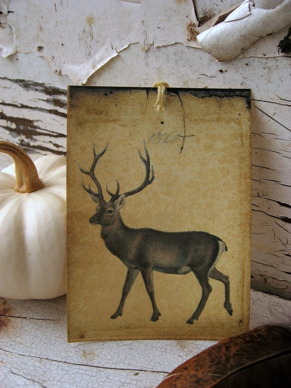 Lone Stag-Vintage Style Gift Tag