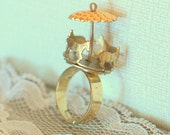 Brass Carnival Carousel on Adjustable Gold Band, 'Coney Island Baby'