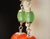 Colorful Lampwork Earrings with Lampwork Beads, Vintage Lucite and Sterling Silver