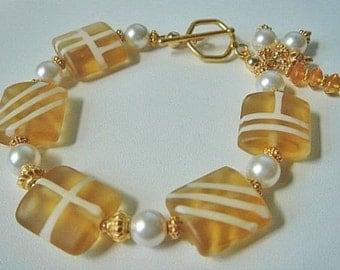 Lampwork Bracelet, Swarovski Pearl Bracelet, Golden Topaz Lampwork Beads, Gold Bracelet