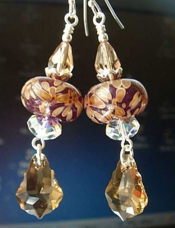 Boro Lampwork Earrings with Swarovski Crystals and Sterling Silver