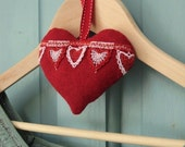 Lavender filled hanging heart in red wool