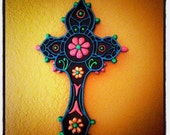 Colored Spirit-Hand painted bright Glow-in-the-Dark Cross