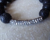 Swarovski Crystal Charm with small Black Lava Beaded Stretch Bracelet