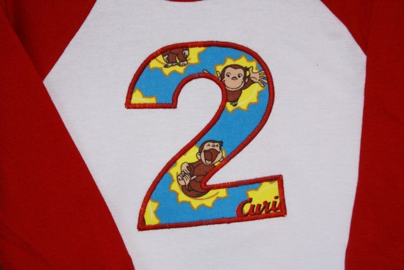 Curious George... Silly Monkey Birthday Tee... or Initial Tee... jonahbonah