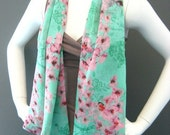 SALE- Chiffon Pink Orchid and Sage Green Toile Scarf