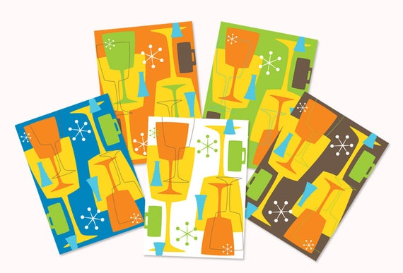 Retro Modern Cocktail Themed Greeting Cards - set of 10