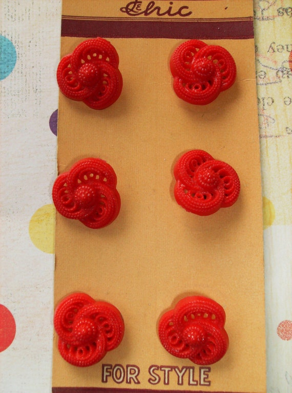Red Pierced Vintage Buttons