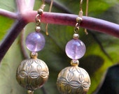 Original Amethyst with Coin Silver Earrings