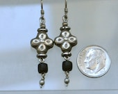 Black Glass Trade Bead Earrings