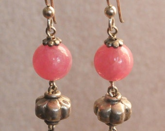 Rhodocrysite Earrings with Rajasthani Coin Silver Beads