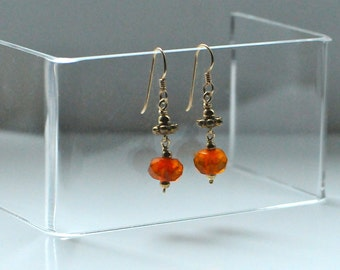 Antique Faceted Amber Earrings with Balinese Gold Electroplated Silver