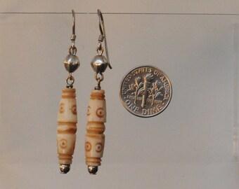 Hand Carved Bone Earrings