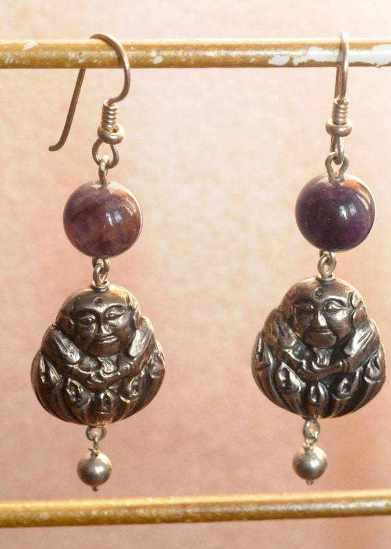Japanese Silver Buddha Beads with Amethyst & Sterling Silver Earrings