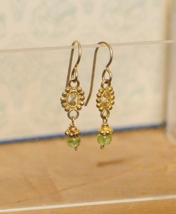 Lime Green Peridot Earrings (Gold)