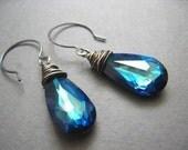 Azure - Oxidised sterling silver wire wrapped blue faceted swarovski teardrop earrings