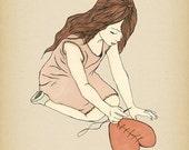HEALING - giclee art print illustration poster decor ( mending a broken heart ) get well spiritual ink drawing