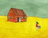 Homecoming - art print of a gouache and pencil painting illustration