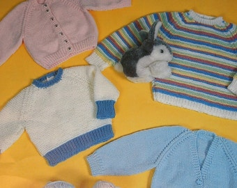 Baby Knitting Patterns Easy Sweaters Bouquet 453 Boy Girl Vintage Paper Original NOT a PDF