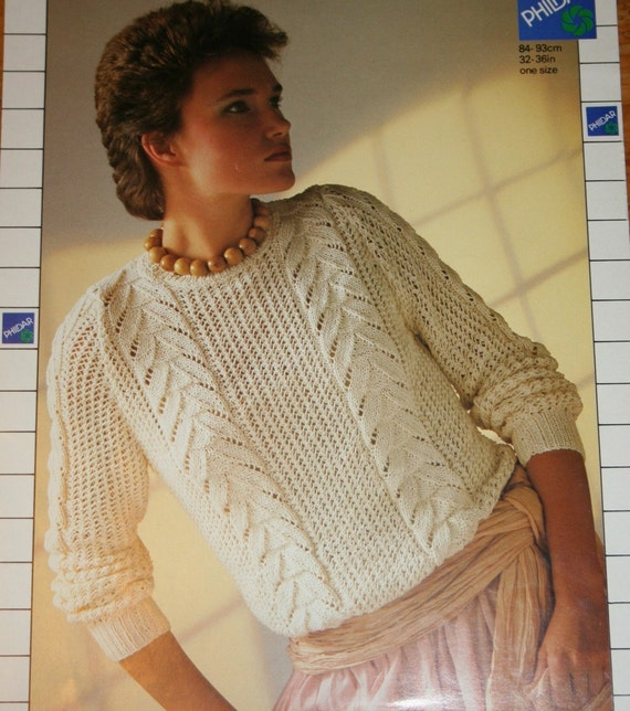 Sweater Knitting Pattern Lace Women Phildar 7469