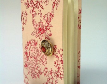 Delicate flowers Journal, Pink fabric cover, journal notebook, lined paper, pink, burgundy, handmade books, diary  for women