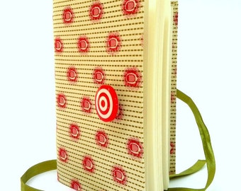 Art Journal, Lined Notebook, Personal Diary with Fabric cover, Opens with target button and green ribbon, travel journal