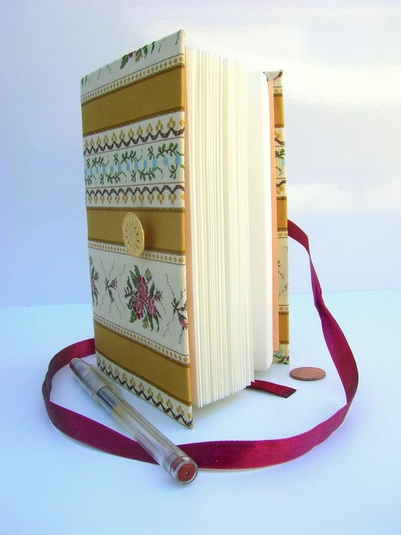 Journal Notebook Diary  with lined paper for writing, Gold stripes Fabric notebook, Golden button and burgundy ribbon, memories book